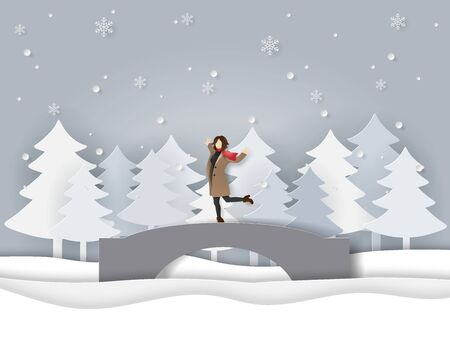 Paper art and craft style of winter season, A happy woman wearing clothes and scarf standing on the bridge with snowing