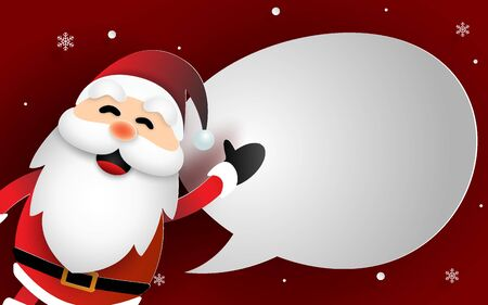 Paper art of Santa Claus with bubble speech for say something, Craft style, Merry Christmas and Happy New Year