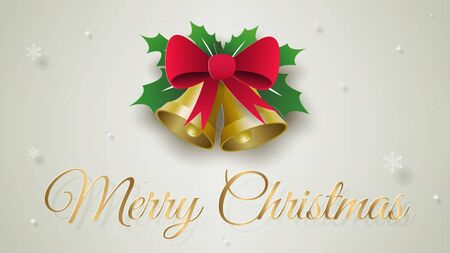 Paper art, Craft style of Golden Christmas bell with red ribbon, Merry Christmas and Happy New Year Stock Illustratie
