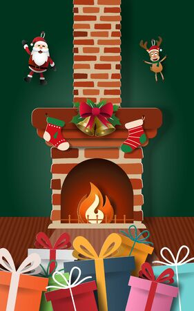 Paper art of Santa Claus gifts with decorated fireplace in home, Merry Christmas and Happy New Year Stock Illustratie