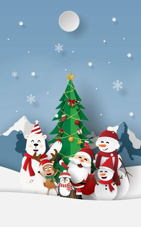 Paper art, Craft style of Christmas party with Santa Claus at snow mountain, Merry Christmas and Happy New Year