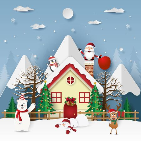 Paper art, Craft style of Santa Claus in chimney on the roof, Merry Christmas and Happy New Year Illustration