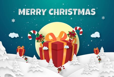 Origami paper art of Big gifts in pine forest with snowfall, Merry Christmas and Happy New Year
