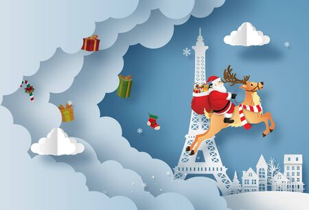 Origami paper art of Santa Claus give presents in town and Eiffel tower, Merry Christmas and Happy New Year
