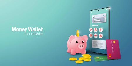 Money online concept, E-wallet application on mobile smartphone for online transaction and billing, Banner background