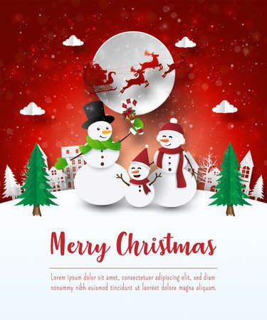 Merry Christmas and Happy New Year, Christmas postcard of Snowman in the village, Paper art style Vettoriali
