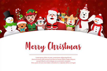 Merry Christmas, Santa Claus and friends on Christmas postcard
