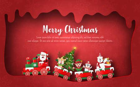 Origami Paper art of Santa Claus and friends on Christmas train, Postcard banner background Vektorgrafik