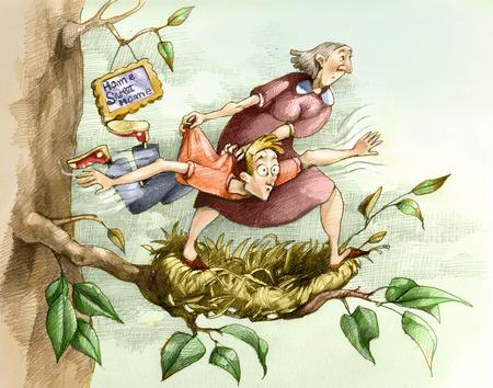 mamma: Una mamma insegna a volare al figlio adolescente lanciandolo fuori dal nido Stock Photo