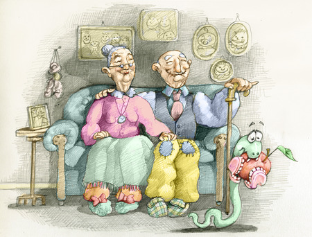 dentures: elderly couple on the couch Stock Photo