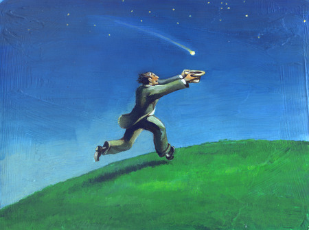 insist: a man runs to raise a shooting star Stock Photo