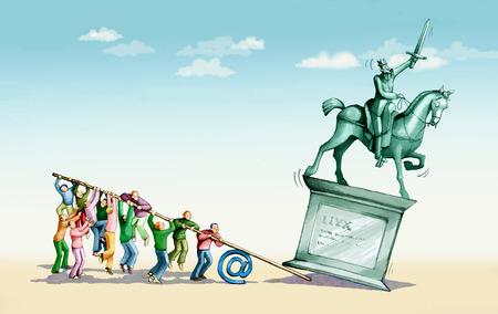overturn: un gruppo di uomini sfrutta per ribaltare il monumento di un re a cavallo Archivio Fotografico