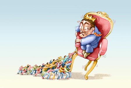 trono: un grupo de personas fore un rey de su trono