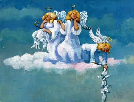 Three angels are questioning the escape of one of their classmates. Stock Photo