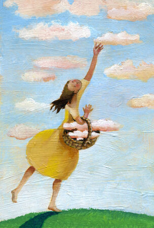 a girl collects in clouds basket. Stock Photo