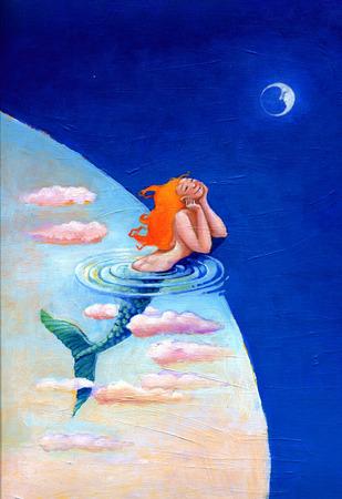 Marmaid looks the moon