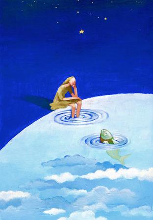 rebirth: a woman looks at a fish