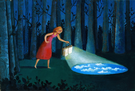 Girl in the woods at night illuminates the road with a book photo