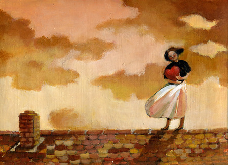 Woman on a roof with a hearth