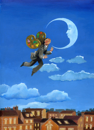 utopia: The wings shaped palette bring a guy near the moon Stock Photo