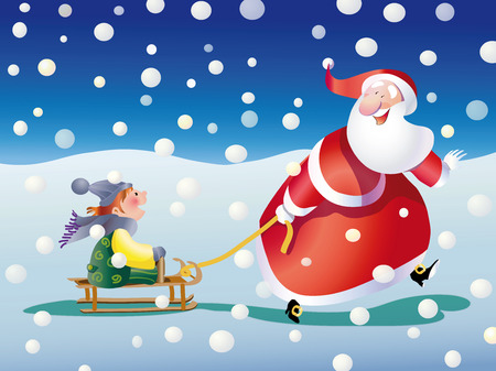 sledging: Santa Claus pulling a child sledging while it snows