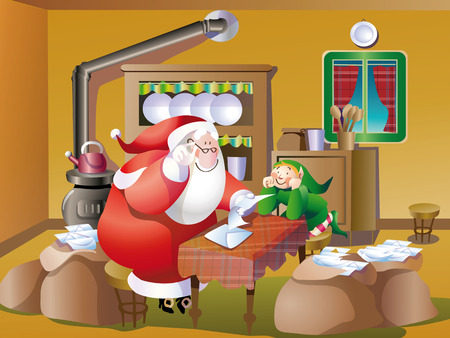 Santa Claus reads the letters of the children Vector