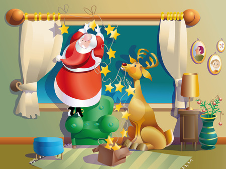 mirth: Santa Claus decorates his window with bells aided by his reindeer Illustration