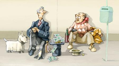 trabajo social: un pobre y un rico competir en dar limosna