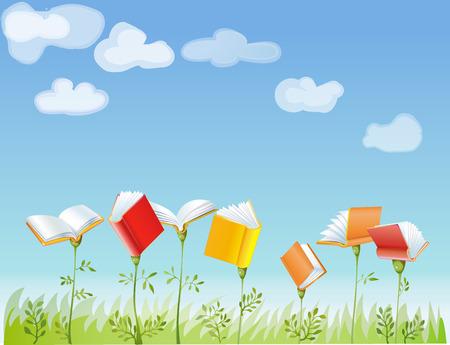 kniha: zahrada, kde rostou knihy Ilustrace