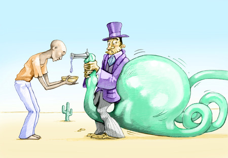 satire: holds a rich man closes the barrel of water so as not to drink a young black man, but behind him inflating a huge bubble that burst the overwhelm