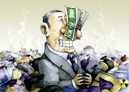 satire: a man immersed in the trash, plugging his nose with money