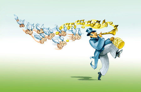 satire: a financier like the Pied Piper brings with him to imprison the minds Stock Photo