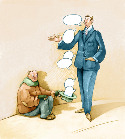 deceiving: a rich man offers as alms to the poor only words