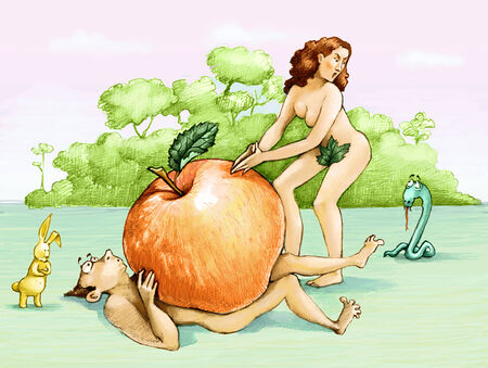 eva: in eden eva rebukes the serpent and Adam and crushed by a huge apple
