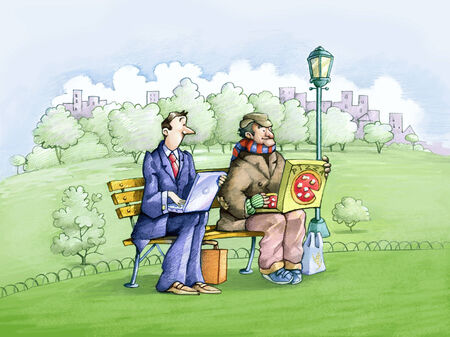 inequality: an employee and a homeless man sitting on a park bench, one computer on your lap, the other a box of pizza, are very similar Stock Photo