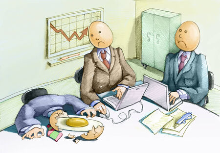 egghead: three employees have the egghead, one of them breaks Stock Photo