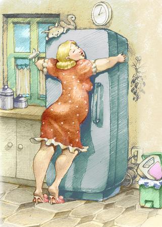 een mollige vrouw omarmen een koelkast met passie Stockfoto