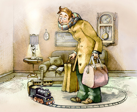 idea cartoon: a man looks at a toy train in the privacy of their own living room, ready to go with suitcases in hand Stock Photo