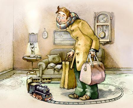 tren caricatura: un hombre mira a un tren de juguete en la intimidad de su propia sala de estar, listo para ir con las maletas en la mano