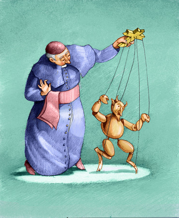 satire: A priest is a puppet dancing shaped devil Stock Photo