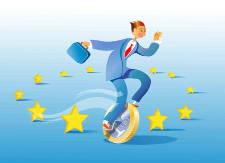 whose: an employee travels on a unicycle whose wheel is a euro through the European flag