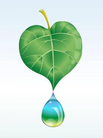 holistic: from a leaf drops a drop light Illustration