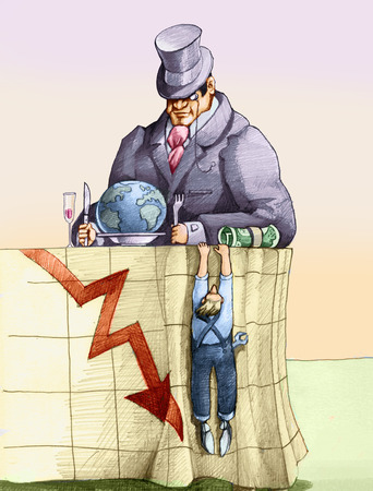 inequality: a banker sat at the table getting ready to eat the world, a worker is clinging to his tablecloth on which is drawn a graph of business in crisis