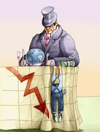 conflictos sociales: un banquero se sent� a la mesa a comer el mundo, un trabajador est� colgado sobre su mantel sobre el que se dibuja un gr�fico de negocios en crisis Foto de archivo