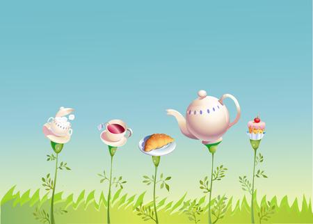 drink tea: a garden where flowers all to drink tea