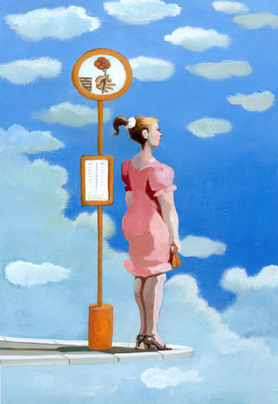 suitor: a girl waiting for a suitor at a bus stop in the clouds