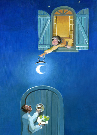 suitor: a woman leans out the window to illuminate a suitor with a moon that uses as a lantern