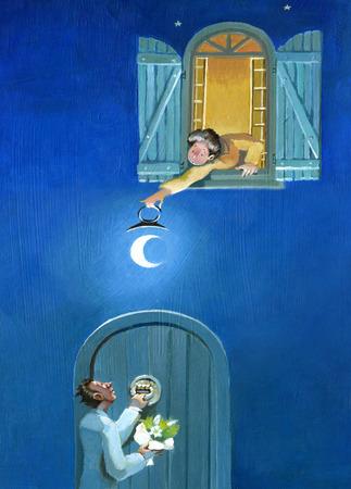 suitor: una donna si affaccia alla finestra per illuminare un pretendente con una luna che usa come una lanterna Archivio Fotografico