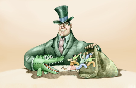 powerful man: a powerful man scares the crowd with the puppet of a crocodile to catch them