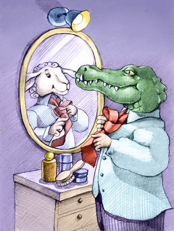 mild: a crocodile while knotting his tie looks in the mirror and sees himself as a mild sheep